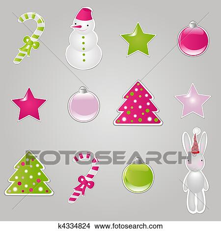 Clipart Of Christmas Symbols And Elements K4334824 Search Clip Art