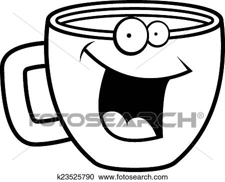 A Cartoon Cup Of Coffee Smiling And Happy