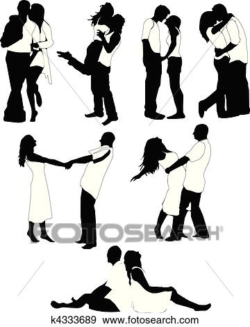 Clipart Ensemble De Heureux Amour Couple Silhouette K4333689