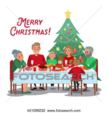 Christmas Dinner Clipart.Family Christmas Dinner With Grandparents Happy Family Celebrating New Year Winter Holidays Vector Illustration Clipart