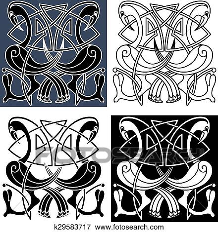 Clip Art Of Heron Birds With Celtic Knot Patterns K60 Search Custom Celtic Knot Patterns
