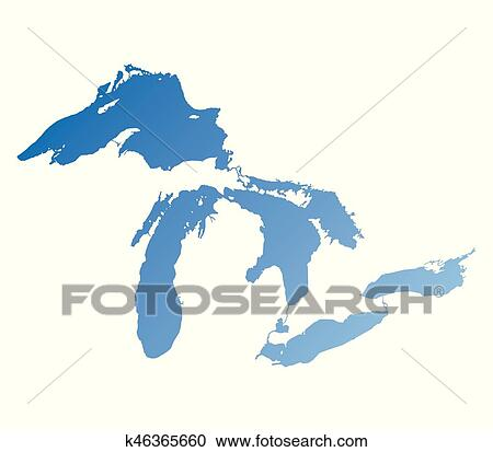 clipart of map of great lakes blue gradient version k46365660