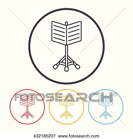 Clip Art Of Music Stand Line Icon K32185207 Search Clipart