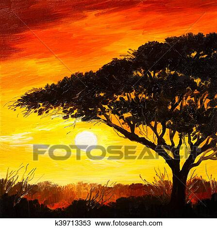 Oil Painting Landscape Sunset In The Forest Wallpaper