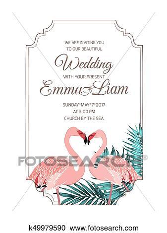 Clipart Rosa Flamingos Parchen Hochzeitskarten Rahmen