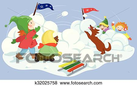 clip art of snowball fight vector illustration k32025758 search rh fotosearch com animated snowball fight clipart Snowball Clip Art
