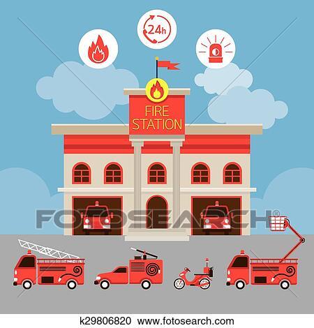 Clipart caserne pompiers et v hicule k29806820 - Dessin caserne pompier ...