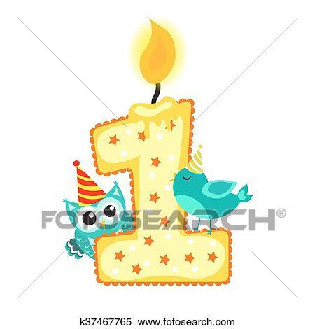 spesso Clipart - felice, primo compleanno, candela, e, animali, isolato  WK81