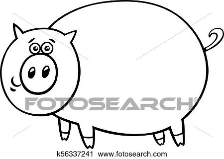 Funny Comic Pig Cartoon Character Color Book Clipart K56337241  Fotosearch