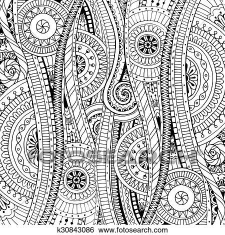 Clip Art - garabato, plano de fondo, en, vector, con, doodles ...