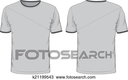 Clipart Of Mens T Shirts Template Front And Back Views K21199543