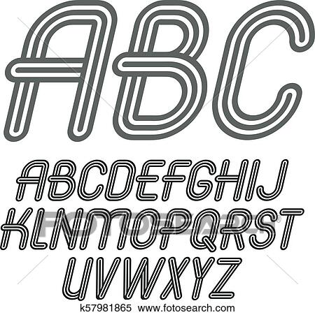 Set of trendy vector capital alphabet letters, abc ...
