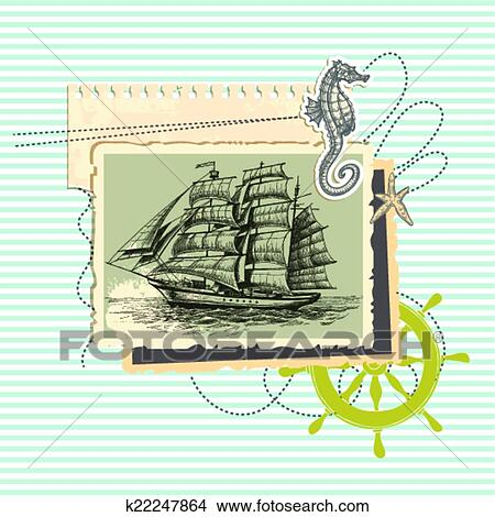 Summer Memories Old Ship Photo And Marine Elements Retro Scrapbook Background Clipart K22247864 Fotosearch