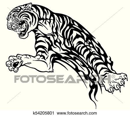 Tatuaje Tigre Tribal clipart - tigre, tribal, tatuaje, negro, blanco k54205801 - buscar
