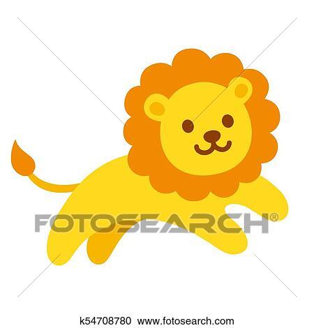 かわいい 漫画 ライオン クリップアート切り張りイラスト絵画
