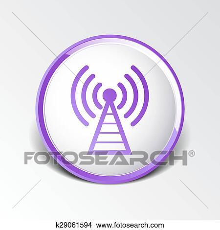 Clipart - antenne, symbol, turm, funkmast, signal, antenne, vektor ...