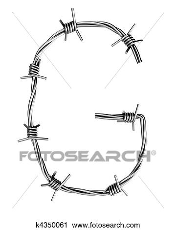 Clipart of Barbed wire alphabet, G k4350061 - Search Clip Art ...