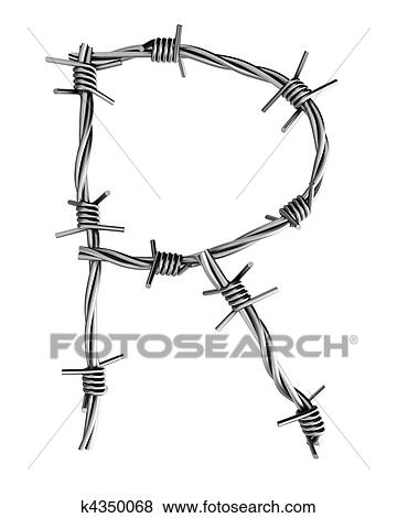 Stock Illustration of Barbed wire alphabet, R k4350068 - Search EPS ...