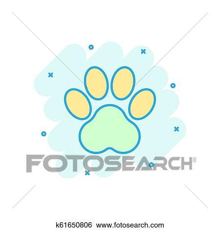 Cartoon colored paw print icon in comic style  Dog, cat, bear paw  illustration pictogram  Pawprint sign splash business concept  Clip Art