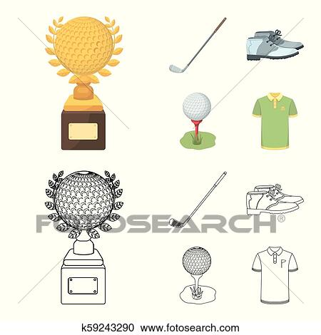 Cup Golf Club Ball On The Stand Golfer Shoes Golf Club Set Collection Icons In Cartoon Outline Style Vector Symbol Stock Illustration Web Clipart K59243290 Fotosearch