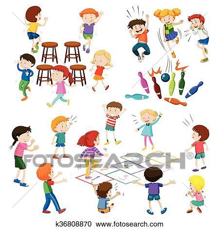 Enfants Jeu Different Espece De Jeux Clipart K36808870 Fotosearch