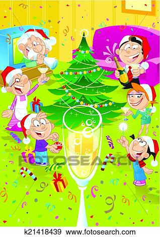 The Illustration Shows How A Family Of Six People Celebrate Christmas They Greet Each Other In Room Near Tree Can Be Used As