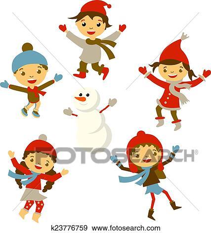 Clipart hiver petite fille bonhomme de neige no l - Clipart bonhomme de neige ...
