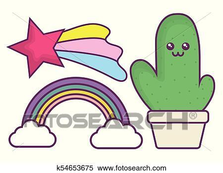 Clipart Kawaii Cactus Et Arc En Ciel Icône K54653675