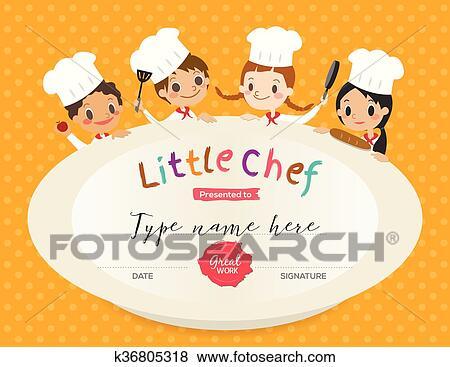 Clip Art of Kids Cooking class certificate design template k36805318 ...