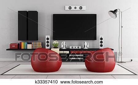 Modern Tv Wall Unit Clipart K33357410 Fotosearch