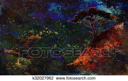 Painting Sunset Sea And Tree Wallpaper Landscape Color