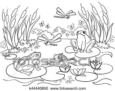 Sumpfgebiet Landschaft Mit Tiere Färbung Vektor Für