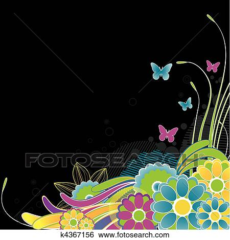 Abstract Flowers Background Vector Illustration