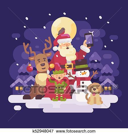Babbo Natale Con Le Renne.Babbo Natale Con Renna Elfo Pupazzo Di Neve E Cane Presa Uno