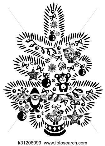 Clip Art Christmas Tree.Christmas Tree Black White Clip Art K31206099 Fotosearch