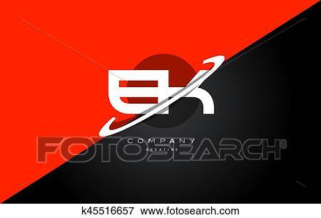 Clip Art Of Ek E K Red Black Technology Alphabet Company Letter