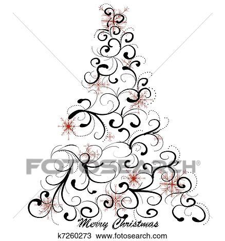 Graphic elegant Christmas tree Clipart