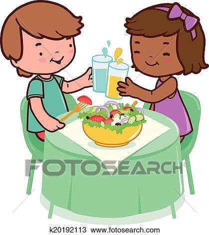 Clipart Kinder Essend Gesundes Essen K20192113 Suche Clip Art