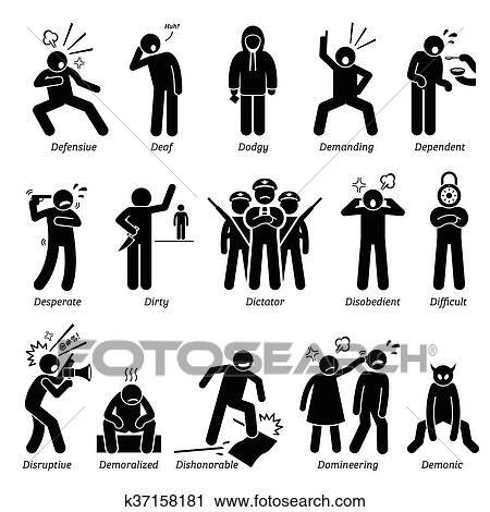 clipart of negative character traits k37158181 search clip art