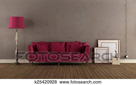 Stock Illustraties - ouderwetse, woonkamer k25420928 - Zoek EPS Clip ...