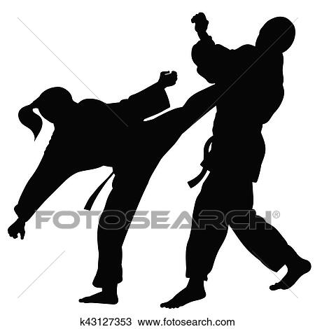 Silhouette Of Athletes Involved In Martial Arts Sparring Clipart K43127353 Fotosearch