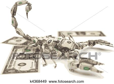 Clip Art Of Vector Dollar Origami Scorpion K4368449 Search Clipart