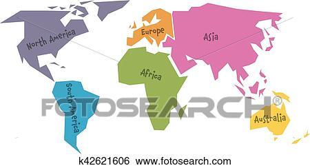 Vereinfacht Weltkarte Geteilt To Sechs Kontinente In