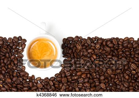 Stock Image White Espresso Cup Sat On Coffee Beans Fotosearch Search Photography
