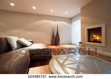 Beeld - woonkamer, met, een, openhaard k24485137 - Zoek Stock ...