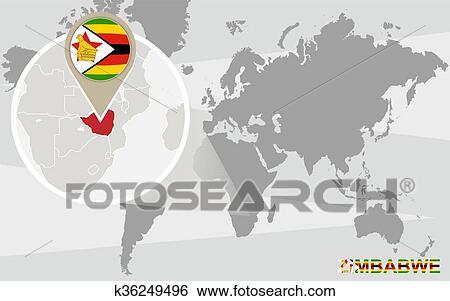 世界地図 で 拡大される ジンバブエ クリップアート