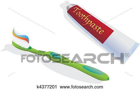 歯ブラシ そして 歯磨き粉 色 イラスト クリップアート