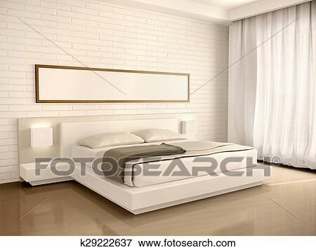3d, illustration, de, intérieur, moderne, lumière, chambre à coucher, dans,  les, style, de, minimalisme Banque d\'Illustrations