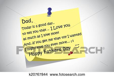 Drawings of happy fathers day post it note k20767844 search clip unique happy fathers day post it note text greetings concept a touching and lovely fathers day wishes written by little son or daughter the day before on a m4hsunfo