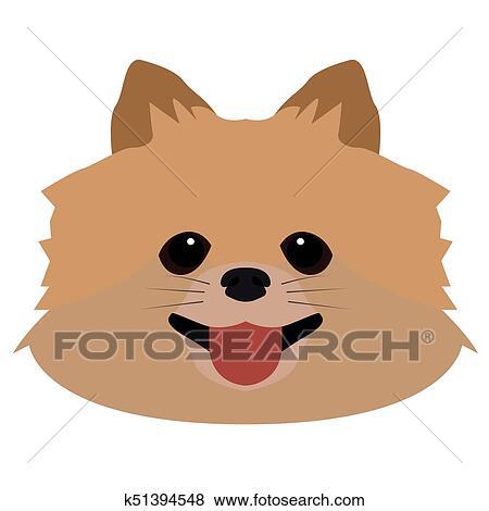 Isolated Pomeranian Avatar Clip Art